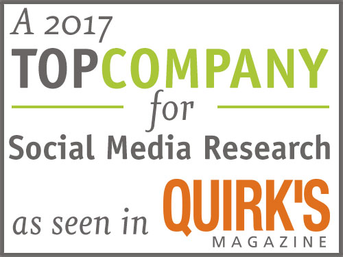 Quirk's magazine Top Company for Social Media Research
